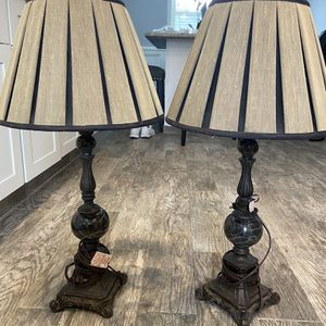 Two lamps for end tables marble granite heavy brass for Sale in Fairfield, NJ