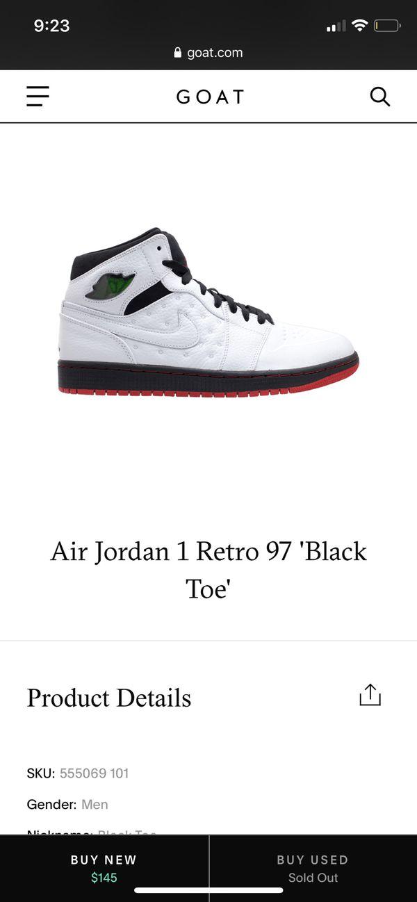 Jordan 1's Retro 97 Black Toe Size 10.5