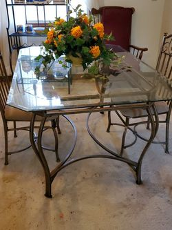 Glass Top Dining Table With 4 Dining Chairs for Sale in Stone Mountain,  GA