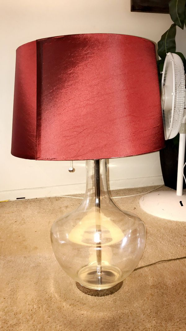 Burgundy Shaded Lamp with Glass Base