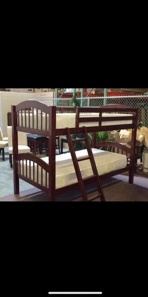 Brand new wood twin/twin bunk bed with mattress ( free delivery) for Sale in San Antonio, TX