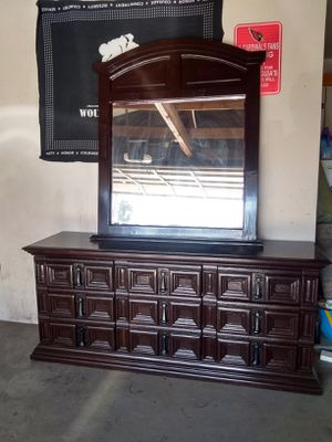 Nice dark cherry dresser, mirror ,9 drawers for Sale in Glendale, AZ