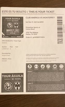America Vs Monterrey Soccer Game. 2 Tickets for Sale in Fort Worth,  TX