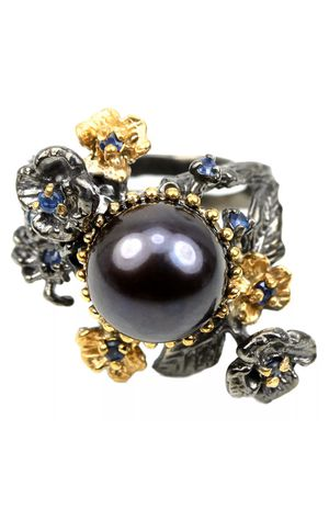Real AAA Blue Sapphire & Black Peacock pearl 925 sterling silver flower ring size 7.5 for Sale in Suisun City, CA