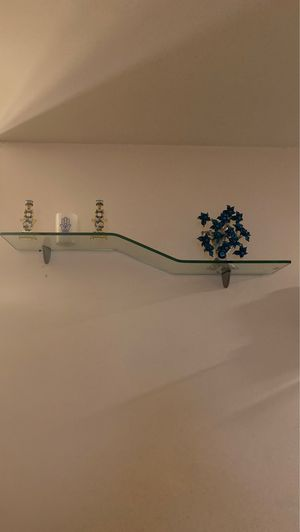 Contemporary bent shelf clear with silver brackets for Sale in Staten Island, NY