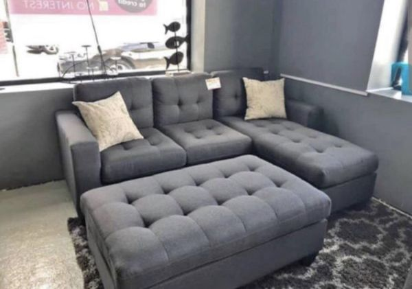 Brand New Grey Linen Sectional Sofa With Ottoman