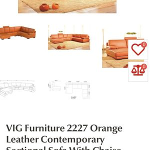 VIG Furniture 2227 Orange Leather Contemporary Sectional Sofa With Chaise for Sale in Fresno, CA
