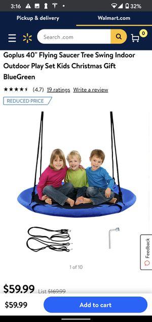 Goplus 40'' Flying Saucer Tree Swing Indoor Outdoor Play Set Kids Christmas Gift BlueGreen SP36638BL for Sale in Los Angeles, CA