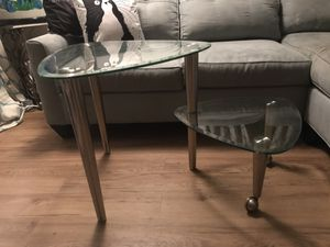 Unique contemporary glass nesting table for Sale in Saint Petersburg, FL
