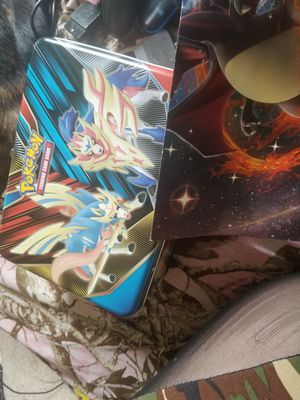 pokemon tin with cards/album and poster for Sale in West Creek, NJ