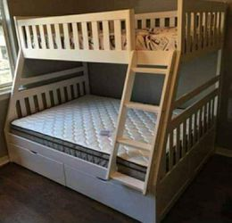 Miller White Bunk Bed Twin Over Full | Same Day Delivery for Sale in Austin,  TX