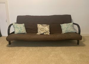 Brown futon cushion, rails, and pillows for Sale in Chesterfield, VA
