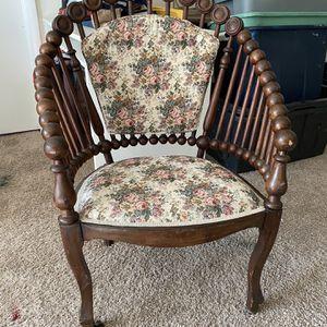 Antique Art Nouveau Wooden Chair w/ Floral Fabric for Sale in Manassas, VA