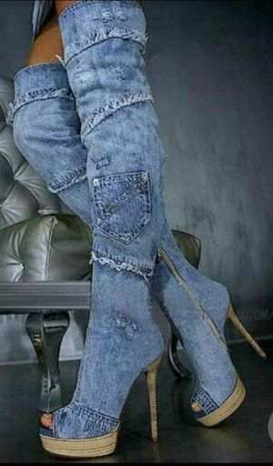 womens party high heel denim sexy over the knee thigh high boots shoes hot for Sale in North Las Vegas, NV