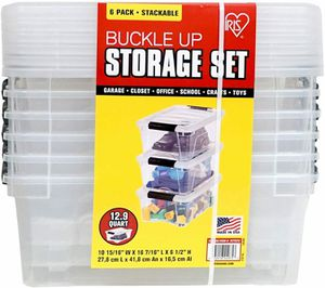 IRIS Storage Containers Clear Plastic Box Lidded Stackable 12.9 Quart 6 PK - Brand New Sealed for Sale in Pembroke Park, FL