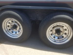 Trailer wheels and tires rims chrome 205/75/14 for Sale in Queen Creek, AZ