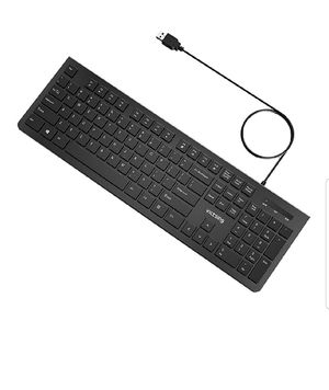 VicTsing Wired Keyboard Ultra-Thin, Computer Keyboard USB Keyboard with Foldable Stand, PC Keyboard for Windows 7/8/10/Vista, Mac/Laptop/Desktop-Black for Sale in Bakersfield, CA