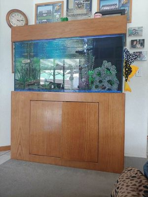 Fish tank and wood stand 90 gallon 4 feet long 18 inches deep for Sale in Palmdale, CA
