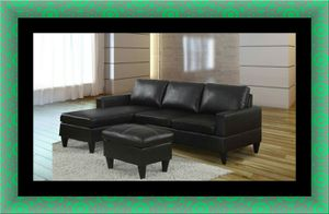 Black sectional free ottoman and delivery for Sale in Crofton, MD
