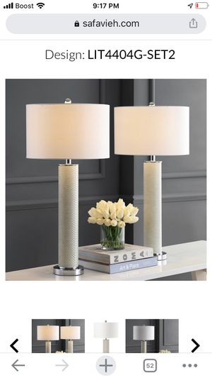 Ollie 31.5 in. Cream Faux Alligator Table Lamp with Off-White Shade (Set of 2) for Sale in Pomona, CA