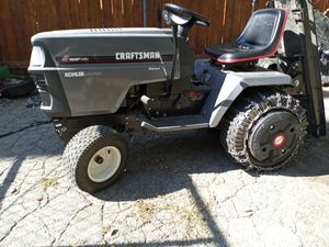 Yard tractor with snow blower, dozer blade and yard mower attachments. for Sale in Running Springs, CA