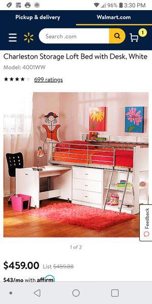 Black Bunk Charleston Low Loft Bed With Desk Mattress and Dresser for Sale in Phoenix, AZ