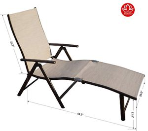 Aluminum Beach Yard Pool Folding Reclining Adjustable Chaise Lounge for Sale in Milton, WA