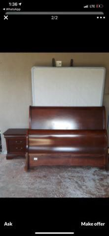 Queen bed frame dresser with mirror and 1 night stand no mattress for Sale in Miami, FL