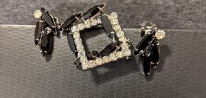 Black & diamond Costume Broach and clip on earrings for Sale in Spokane, WA