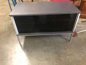 Grey Black glass doored tv stand for Sale in Auburn, WA