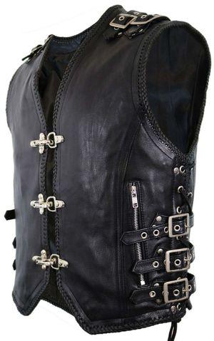 Men's Genuine Cow Leather Heavy Braided Rocker Biker Motorcycle Vest Waistcoat for Sale in Staten Island, NY