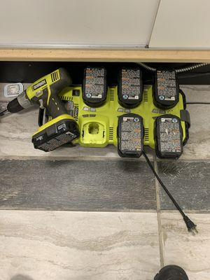 Ryobi drill / docking station with 6 lithium ion batteries for Sale in Cleveland, OH