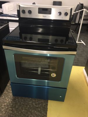 Whirlpool Stainless Steel Electric Stove With Warranty Scraches Dent No Credit Needed Just $54 The Down payment Cash price $799 for Sale in Garland, TX