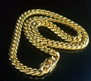 18K Yellow Gold Plated Stainless Steel Box Clasp Miami Cuban Curb Chain Necklace for Sale in The Bronx, NY