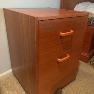 Wooden Filing Cabinet With Rollers for Sale in Seattle, WA