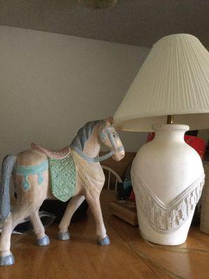 Pottery lamp with 4 shades, horse figure, New for Sale in San Francisco, CA