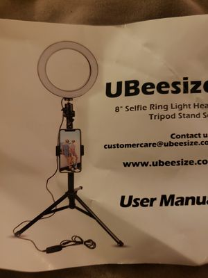 """New 8"""" selfie ring light with tripod stand and cell phone holder compatible with iphone and android for Sale in Spartanburg, SC"""