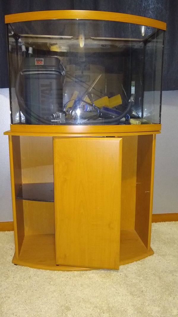 36 gal. Bowfront, Cabinet, and all