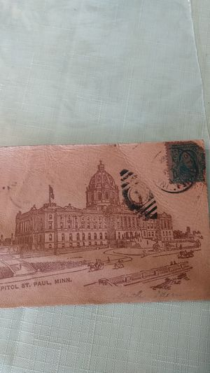 Leather postcard 1906 state capitol Benjamin Franklin 1 cent used for Sale in Revere, MA