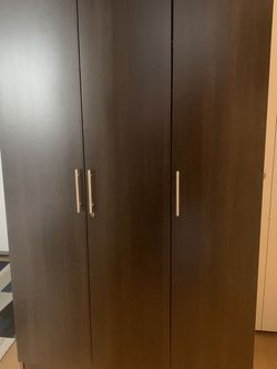 Bedroom Armoire Wardrobe Wooden Closet Clothes Cabinet Storage with 3 Doors, Shelves, Hanging Rod, Wood Wardrobe Closet with Lock for Bedroom for Sale in New York,  NY