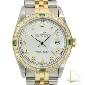 Rolex Datejust 16233 18KY/SS 36mm Mens Silver Diamond Dial Diamond Bezel Watch for Sale in Long Beach, CA