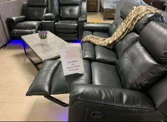 $39 Down payment 💥Kempten Black LED Reclining Living Room Set 💥Sofa/Loveseat 💯In Stock for Sale in New Castle,  DE