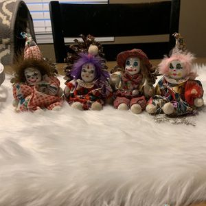 """VINTAGE 3 Small Clown Doll Porcelain Face Moveable Arms & Legs Dressed 9"""" Tall for Sale in Collinsville, IL"""