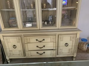Antique China cabinet. With mini matching server for Sale in Miami Gardens, FL