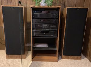 Sony System - stereo, cassette, CD, speakers, cabinet for Sale in Marysville, WA
