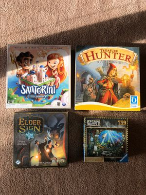 Board Games: Santorini, Elder Sign, Treasure Hunter, Escape Puzzle for Sale in Seattle, WA
