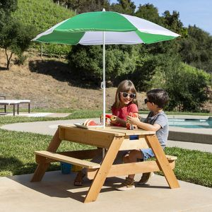 3-in-1 Kids Convertible Wood Sand & Water Picnic Table w/ Umbrella for Sale in Dublin, OH