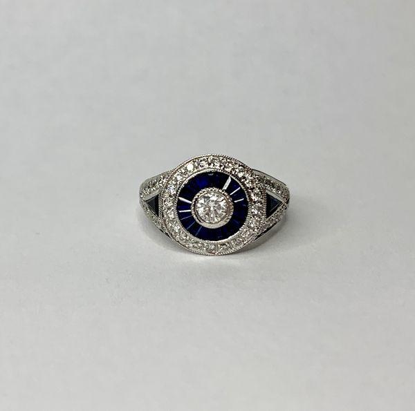 18K White Gold Diamond Sapphire Engagement Ring
