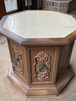 "Vintage Octagon Side Chest Marble Top Scroll Work Stand 23""x23""x21"" for Sale in Silver Spring,  MD"
