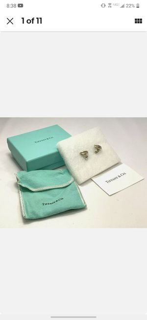Tiffany & Co 18K Yellow Gold 925 Sterling Silver Earrings w/ cloth and box #5460 for Sale in Costa Mesa, CA